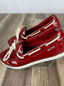 Cole Haan Woman 1928 Nantucket Boat Patent Leather Loafers Red Size 9 B