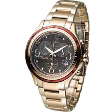 Citizen Eco-Drive FB1373-52W Analog Gold Stainless Steel Chronograph Lady Watch