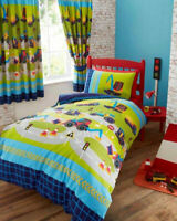 Kids TRUCKS & DIGGERS Duvet Quilt Cover Bedding Set Single Double Or Curtains