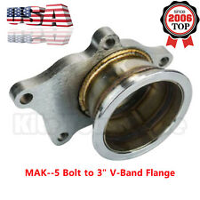 """For T3/T4 Turbo 5 Bolt to 3"""" V-Band Flange Turbo Adaptor Stainless Steel Adapter"""