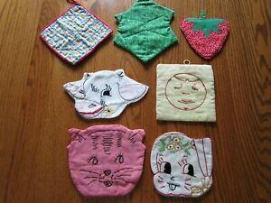 7 Vintage Embroidered Potholders Handmade