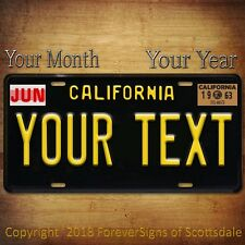 California Vintage Look Your TEXT Aluminum License Plate Tag With MONTH and YEAR