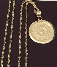 Religious 14k yellow Gold Aztec Calendar Charm Pendant Singapore Chain 18inch