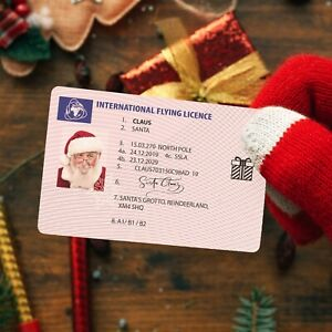Plastic Santa Claus Flying Licence - Christmas Eve Driving Licence Style