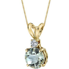 14K 14ct Yellow Gold 0.9 Ct Green Amethyst & 0.05 Ct Diamond Pendant Round 6.5mm