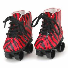 18 inch Girl Boy Logan Doll Clothes Shoes Red Roller Skates American seller