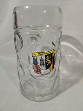 "New listing Manheim Germany Dimpled Glass Beer Stein Mug 1 L Clear Glass 8x4"" Austria"