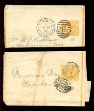 AUSTRALIA VICTORIA QV 1898-99 STATIONERY WRAPPERS...STAWELL + HOPETOUN PMKs