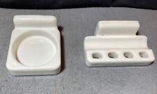 New ListingOld Porcelain Bathroom Cup Holder & Toothbrush Holder