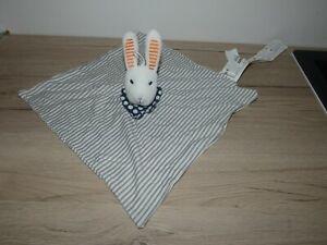 doudou lapin blanc gris bleu orange rayure pois ikea état neuf