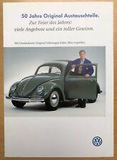 Gewinnkarte 50 Jahre Original VW Austauschteile 1997;Gewinn VW Brezel Käfer 1952