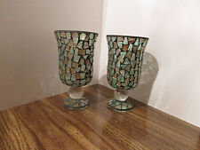 VASEs for artificial flowers, glass covered w/cut glass pieces NOT FOR WATER