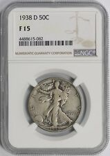 1938-D 50C NGC F 15 (Better Date) Liberty Walking Half Dollar