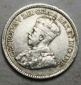 Canada 1919 Silver 5 Cents, Old Date KGV (61g)