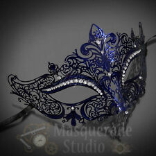 Women Luxury Filigree Metal Laser-Cut Venetian Mardi Gras Masquerade Mask [Blue]