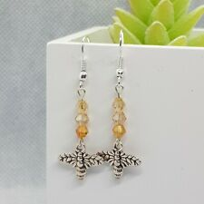 Bee Charm Dangle Drop Earrings with Yellow/Golden Glass Beads ~ Dangly