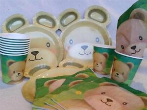 TEDDY BEAR PICNIC TABLEWARE PARTY SUPPLIES choose NAPKINS,CUPS,PLATES,BOWLS