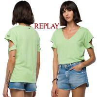 T-shirt donna REPLAY taglia XS maglietta con spacchi sulle maniche cotone W3210