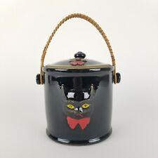 Vintage Halloween Black Cat Jar Ceramic 2 Sided Japanese Redware Shafford Wales