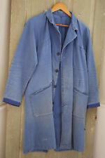 Vintage Long French Jacket peasant bleu travail Work Chore wear denim blue coat