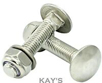 M10 CARRIAGE BOLTS NYLOC NUTS WASHERS CUP SQUARE COACH SCREWS A2 STAINLESS STEEL