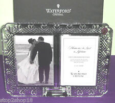 "Waterford Wedding Double Photo Picture Frame 4x6"" Ea. Heart Border #128901 New"