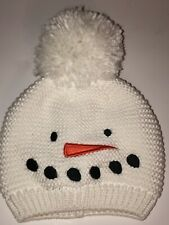 NWT Carter's Snowman White Beanie Pom Puff Size 0-3 Months Knitted Carrot Nose