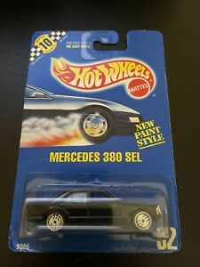 Hot Wheels 1990 Blue Card MERCEDES 380 SEL #92 BLACK with Hot Ones Rims H443