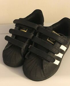 Adidas Kids Superstar Lace Up Sneakers Black White Size Toddler 6.5K
