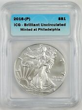 2016 P American Silver Eagle Coin 1 oz US $1 Dollar Mint Brilliant # 726 V6