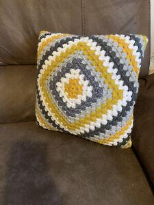 "Handmade Crochet Cushion 14"" Granny Square includes Insert Mustard Greys White"