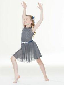 Revolution Rise Up Girls Medium Dance Costume Sparkle Gray
