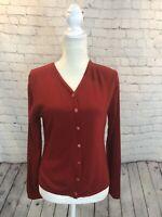 Bogner Women Cardigan Sweater Jacket Red Wool Marked US 14 Fits Medium
