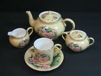 Hour of Power Tea Set Service Crystal Cathedral Ministries Yellow/Roses 7pc Mint