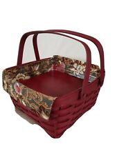 Longaberger Red Stained Cake Basket Comb with Majolica Garden Liner and Riser