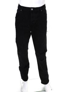 Ksubi  Mens Button Fly Distressed Denim Jeans Black Size 36