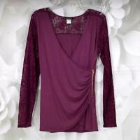 Venus Women's Fashion Laced Long-Sleeve Blouse Top Size Medium Zip V-Neck Plum