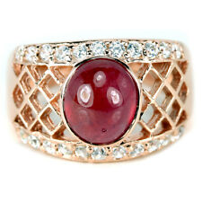 GENUINE AAA PINK RED RUBY CABOCHON & WHITE CZ STERLING 925 SILVER RING SIZE 7