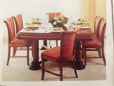 ANTIQUE LARGE SOLID WOOD DINING TABLE 10 CHAIRS SET ANDREW MARTIN FABRIC