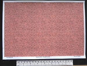 O gauge (1:48 scale) rustic brick -  paper - A4 sheet (210 x 297 mm)
