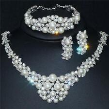 18K plaqué or blanc mariage mariage collier boucle d'oreille bracelet perle crystal set