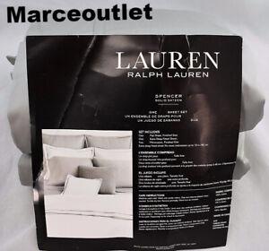 Ralph Lauren Spencer 475 Thread Count Sateen KING Sheet Set Stone Gray