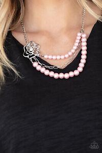 Paparazzi Necklace - Fabulously Floral Pink Flower Jewelry Rhinestone