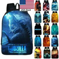 USA Godzilla Backpack 3D Printed Boys Girls Kids Student Book Bag Travel Bag