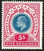 South Africa Natal 1902 blue/rose 5/- crown CC mint SG140