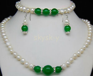 Natural 7-8mm White Pearl & Green Jade Gems Necklace Bracelet Earring Set