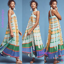 NWT $228 Anthropologie Abstraction Pleated Maxi Dress Geisha Designs Large L