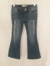 Route 66 Girls Sz 7 Skinny Flare Jeans Blue Zipper American Indian Embroidery