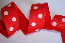 "50 yards Polka Dot Grosgrain 7/8"" Ribbon 23mm Craft/bow Red/White R43-M Roll"