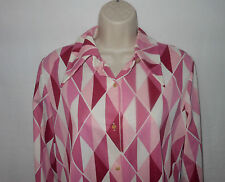 Vintage 70s Costume Polyester Big Point Collar Blouse Shirt Medium Womens Pink